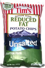 Tim's Cascade Style Reduced Fat Potato Chips Unsalted