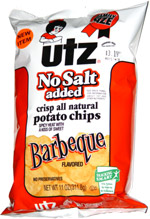 Utz No Salt Added Barbecue Potato Chips