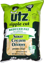 Utz Ripple Cut Reduced Fat Sour Cream and Onion Potato Chips