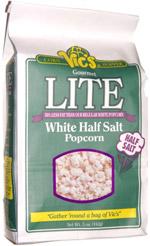 Vic's Corn Popper Gourmet White Lite Half Salt Popcorn