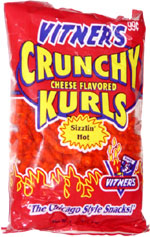 vitners sizzlin hot crunchy cheese flavored kurls