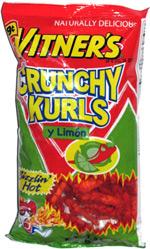 Vitner's Crunchy Kurls Sizzlin' Hot y Limon
