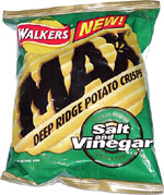 Walkers Max Salt and Vinegar Deep Ridge Potato Chips