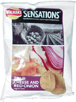 Walkers Sensations Four Cheese and Red Onion Flavour Crisps