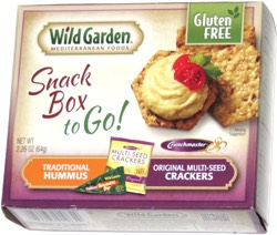 Wild Garden Mediterranean Foods Snack Box to Go! Traditional Hummus Original Multi-seeds Crackers