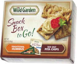 Wild Garden Mediterranean Foods Snack Box to Go! Traditional Hummus Sea Salt Pita Chips