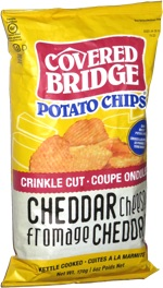 Covered Bridge Potato Chips Crinkle Cut Cheddar Cheese Kettle Cooked