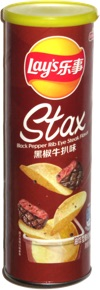 Lay's Stax Black Pepper Rib Eye Steak Flavor