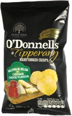 O'Donnells of Tipperary Hand Cooked Crisps Ballymaloe Relish and Cheddar Cheese Flavour