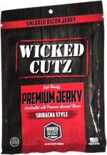 Wicked Cutz Premium Jerky Handcrafted with Premium Uncured Bacon Sriracha Style
